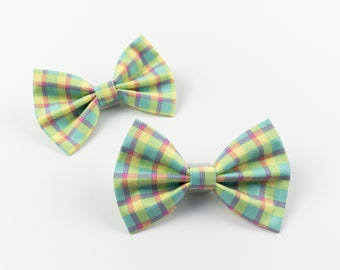 Dog Bow Tie in a bright multicoloured spring check