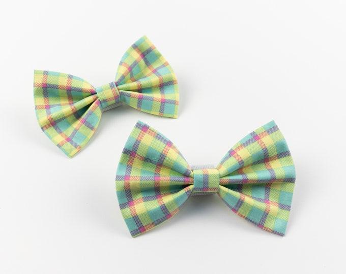 Featured listing image: Dog Bow Tie in a bright multicoloured spring check