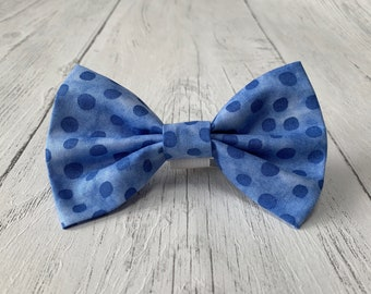 Handmade Blue Spot Dog Bow Tie