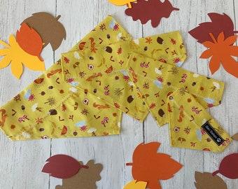 Handmade Slip Over the Collar Dog Bandana in Mustard 'Autumn Days' Fabric