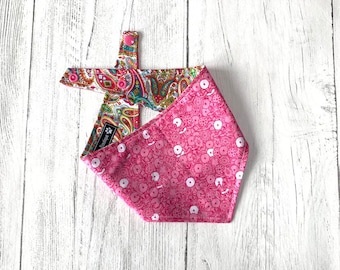 Paisley and Pink flower double sided Bandana with a popper fastening