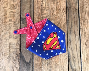 Super Man vinyl print Handmade double sided dog Bandana with blue and red star fabric.