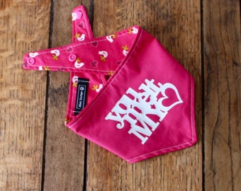 Handmade double sided cerise pink Bandana with vinyl 'You melt my heart' slogan and heart / bird design fabric.