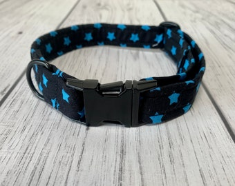 Dog Collar in a Black and Bright Blue Stars Fabric with Matt black hardware / dog collar and lead set