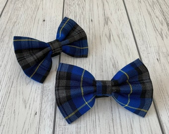 Blue, Grey and Yellow Tartan Dog Bow Tie