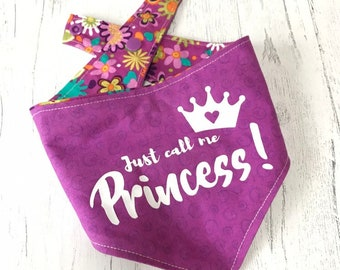 Purple and floral Dog Bandana with 'just call me princess' vinyl design and popper fastening