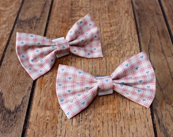 Handmade Dog Bow Tie in gorgeous gingham ivory and blush pink check with small blue hearts.