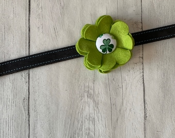 Lime Green St Patricks Day Collar Flower in a wool felt fabric with a green and white shamrock fabric button centre