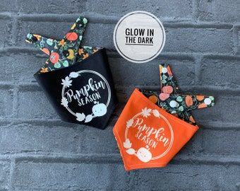 Glow in the Dark Pumpkin Season Double sided Dog Bandana.