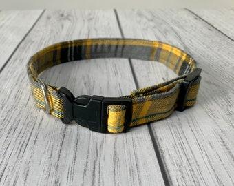 Stunning handmade mustard yellow tartan Dog Collar.