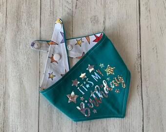 Birthday Dog Bandana in turquoise and stars fabric.