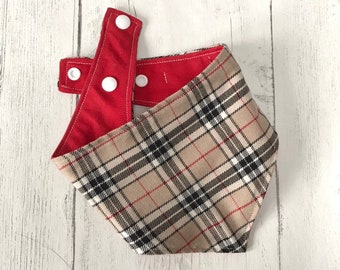 Beige and Red Tartan Dog Bandana with a popper fastening