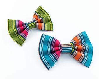 Summer brights stripe dog bow tie