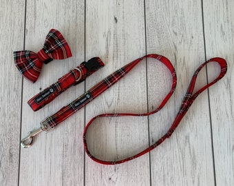 Dog Collar and Lead in a vibrant red stewart tartan fabric  / dog collar and lead set