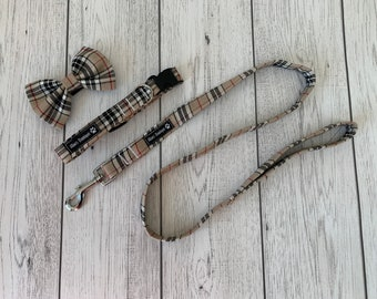 Dog Collar and Lead in a gorgeous beige and red tartan fabric  / dog collar and lead set