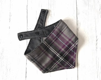 Purple and Grey Tartan Dog Bandana with a popper fastening