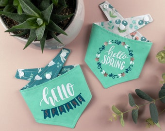 Spearmint Green and dark teal Reversible Dog Bandana with a hello Spring Vinyl print