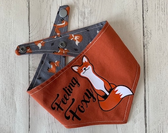 Double sided Dog Bandana with 'Feeling Foxy' vinyl design and fox fabric