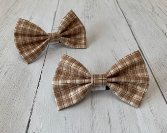 Handmade Dog Bow Tie in a gorgeous brown and ivory check