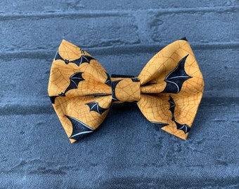 Spooky Orange Bats Halloween Dog Bow Tie