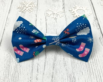 Winter Blue Dog Bow Tie with Christmas motifs