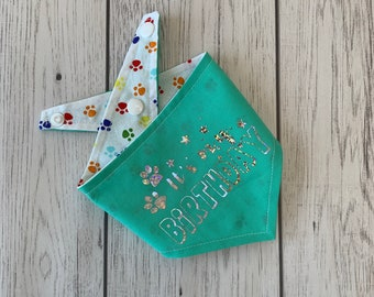 Birthday Dog Bandana in turquoise with a rainbow paw print fabric.