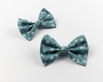 Dog Bow Tie in a Teal Easter bunny fabric