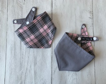 Pastel Pink and Grey Tartan Dog Bandana with a popper fastening