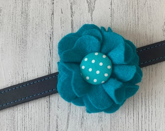 Teal Dog Collar Flower in a wool felt fabric
