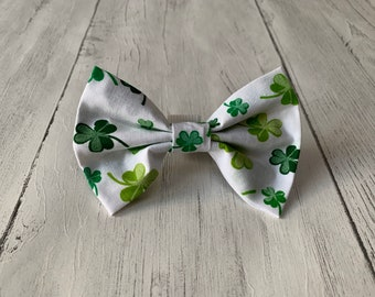 St Patricks Day Dog Bow Tie in gorgeous white with green lucky shamrocks.