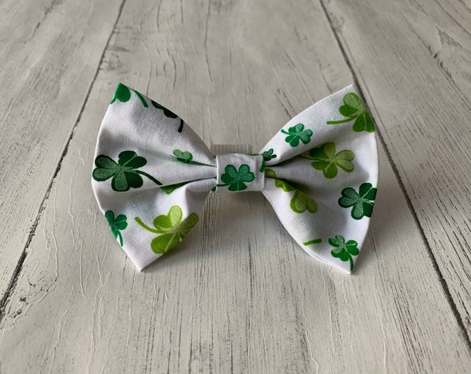 Featured listing image: St Patricks Day Dog Bow Tie in gorgeous white with green lucky shamrocks.