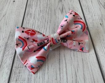 Pink Rainbow Handmade Dog Bow Tie