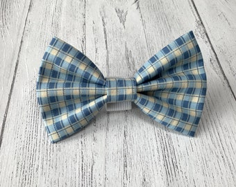 Blue and Cream check Dog Bow Tie