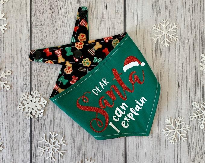 Featured listing image: Double sided dear Santa I can explain Christmas dog Bandana