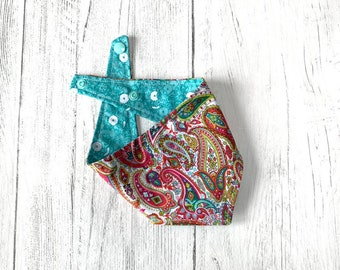 Paisley and Turquoise flower double sided Bandana with a popper fastening