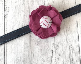 Maroon Dog Collar Flower in a wool felt fabric with a matching bones fabric button centre
