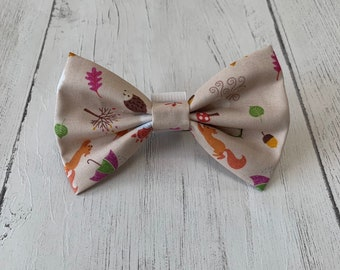 Beige Autumn Motifs Dog Bow Tie