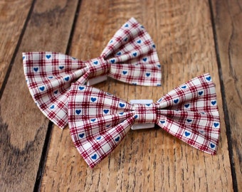 Handmade Dog Bow Tie in gorgeous gingham ivory and burgundy check with small blue hearts.