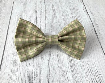 Green and Cream check Dog Bow Tie
