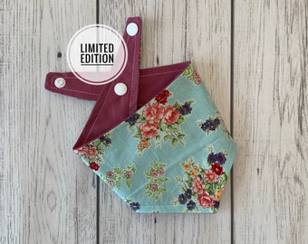 Reversible Dog Bandana in a beautiful vintage duck egg floral teamed with deep blush fabric.