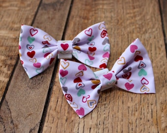Handmade Dog Bow Tie in fabulous funky heart fabric
