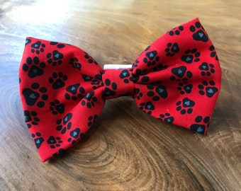 Handmade Dog Bow Tie in Red 'Pawtastic' Paw Print Fabric.