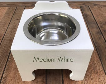 Handmade Single Bowl Raised Pet Feeding Stations (Medium)
