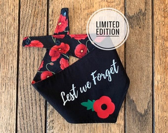 Double sided Rembrance Dog Bandana in black with red Poppy and Lest we Forget Text