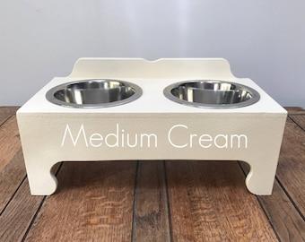 Handmade Double Bowl Raised Pet Feeding Stations (Medium)