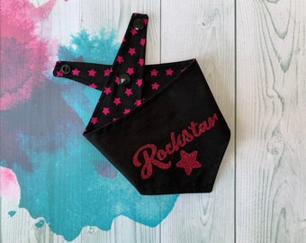 Reversible Dog Bandana with a 'Rockstar' vinyl print/ Black with Pink Stars / Glitter Bandana / Rockstar Bandana