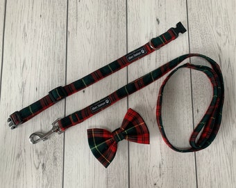 Dog Collar and Lead in a striking red and green tartan fabric  / dog collar and lead set
