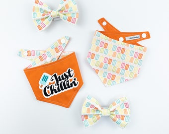 Reversible summer dog bandana / bright orange / lollipop fabric / just chillin