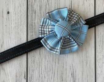 Sky Blue and Grey Tartan Dog Collar Flower