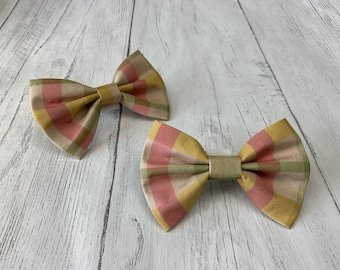 Dog Bow Tie in pink, green and yellow check  fabric